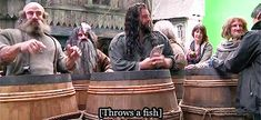 This was so funny, Thorin (Richard Armitage) threw a fish into Ori's (Adam Brown) barrel!