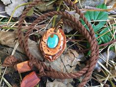 Peach pit pendant/ wooden pendant/ turquoise by OKAVARKpendants