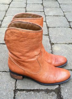 Vintage Nine West Cognac Brown Leather Ankle Boot by DrowningFlame, $42.00
