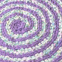 Lilacs in Bloom Crochet Rug Detail