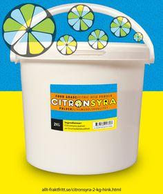 Citronsyra 2 kg hink - Citronsyra, livsmedelsgodkänd till drycker, godis, tvätt och avkalkning av livsmedelsytor, avkalkning av alla sorters maskiner, tvättmaskinrengöring etc.