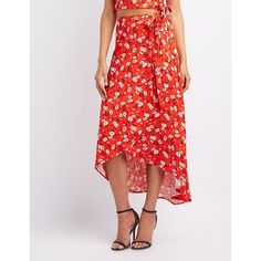 Charlotte Russe Floral Maxi Wrap Skirt ($27) ❤ liked on Polyvore featuring skirts, red multi, wrap skirt, floral print maxi skirt, wrap maxi skirt, long floral skirts and floral maxi skirt
