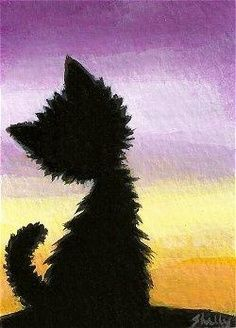 NImport ACEO original acrylic painting. Hand painted folk art. Black cat watching the sunset. This is an original painting by Shelly Mundel.