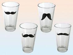 Trinkglas konische Form mit Schnurrbart Design 400 ml 4 Stück Set