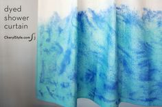 Transform your bathroom for under $20 with our DIY dyed shower curtain…