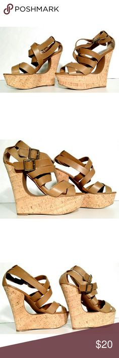 Steve Madden Womens Brown Cork Heels Size 7.5 Very good condition! Fast Shipping! Steve Madden Shoes Heels