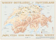 Map with all Whisky Distilleries in Switzerland Medium Size: 42 x 60 cm Tasting Map Size: 24 x 34 cm www.alba-collection.com