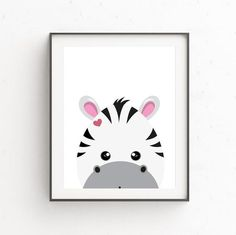 Zebra digital poster, Instant download Poster, Print wall art, Printable poster art, Illustration pr Nursery Wall Decor, Nursery Art, Zebra Illustration, Cute Penguins, Printable Art, Wall Art Prints, Digital, Poster, Etsy