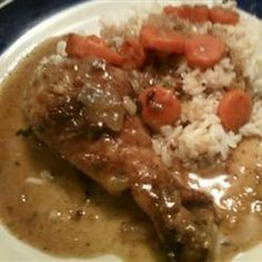 Smothered Chicken ~ A Southern classic, served over a bed of white rice  #recipe