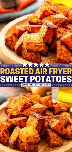 This quick and easy air fryer recipe is a delicious way to enjoy sweet potatoes! Roasted with seasonings, they come out crispy on the outside and tender on the inside. Even kids are going to gobble up this healthy vegetable side dish for dinner! Pin this for later! Potato Side Dishes, Healthy Side Dishes, Side Dishes Easy, Side Dish Recipes, Dinner Dishes, Food Dishes, Dinner Table, Easy Potato Recipes, Yummy Recipes