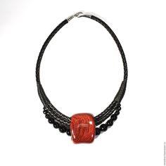 Купить Колье из бубинго и черного агата - подарок девушке, украшения из дерева, деревянные украшения