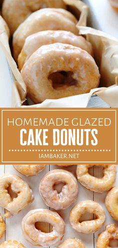 Cake Donut Recipe Fried, Baked Doughnut Recipes, Easy Donut Recipe, Doughnut Cake, Best Homemade Doughnut Recipe, Baked Donuts, Homemade Donuts, Homemade Desserts, Homemade Cakes