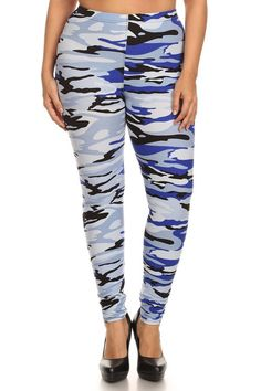 Dress up your outfit with this blue camo print leggings. Pair it with one of your casual tops and you are ready for another comfortable day. Perfect for most plus sizes. - Fabric: 92% Polyester | 8% S