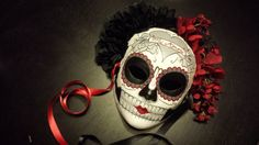 Mi Amor Day of the Dead Mask  heart and banner by HikariDesign