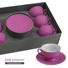 Este fin de semana me voy a poner morada. Para empezar, con mi juego de café púrpura... http://elhogarideal.com/es/74-juegos-de-cafe