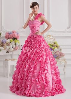 Pink Elastic Woven Floral Ruffled One-Shoulder Floor-Length Ball Gown. See More One Shoulder at http://www.ourgreatshop.com/One-Shoulder-C947.aspx