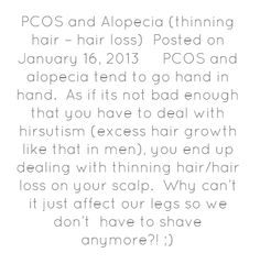 PCOS and Alopecia (thinning hair – hair loss)Posted on January...
