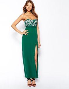 Elise Ryan Bandeau Maxi Dress with Thigh Split