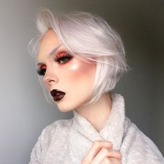 WEBSTA @ beautsoup - experimenting with bleach brows  || BROWS: @katvondbeauty 'White Out' concealer | EYES: KVD 'Clementine' from the #PastelGothpalette