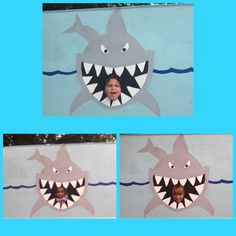Shark attack photo booth prop! Shark birthday theme party! Shark birthday party ideas and decor.