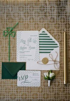 Green and gold invitations