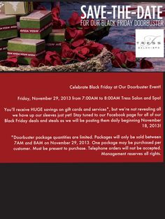 Celebrate Black Friday at Tress's Doorbuster Event!! Tress Salon and Spa 559.395.4402