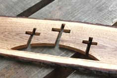 Three crosses carved on the oak plank Calvary crosses Jesus God Holly Spirit Church Christians Wood Turning Lathe, Wood Turning Projects, Diy Wood Projects, Wood Crafts, Learn Woodworking, Woodworking Projects Diy, Wal Art, Cross Wall Decor, Wooden Crosses
