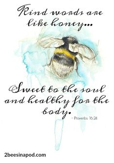 All the Buzz - Spring Has Sprung - 2 Bees in a Pod Bee Quotes, Proverbs 16 24, Bee Art, Spring Has Sprung, Beautiful Words, Bible Verses, Scriptures, Wise Words, Quotes To Live By
