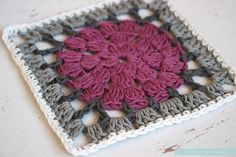 Dally Dahlia Square | Free crochet pattern | Fuchsia Square