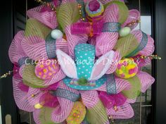 Easter Bunny Polka Dot Hat Wreath