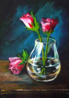 Three roses an a glass vase: (A) Learning the trick of glass and reflections is explained step by step. If you have not tried this lesson I highly recommend it.  #gingercooklive #art