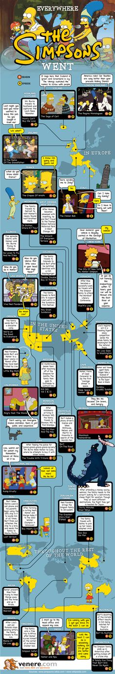 Infographic: Everywhere The Simpsons Have Traveled In The Past 25 Years
