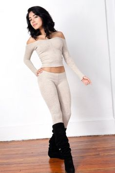 Oatmeal Sexy Stretch Knit Boat Neck Top & Low Rise Tights Outfit by KD dance, Fashion Versatile, Unique, Soft, Warm & Cozy Yet Durable, Made In New York City USA $79.99 - $81.99