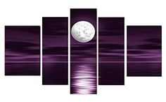 Unixtyle-100% Hand Painted Oil Painting on Canvas Purple Skyline Sea White Full Moon Night Wood Framed Landscape Wall Art Painting Abstract Home Decoration Free Shipping 5 Pcs/set