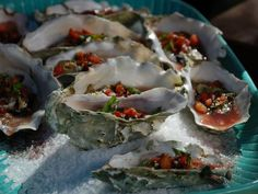 Get Tuscan Wood-Grilled Oysters with Crispy Pancetta-Tomato-Basil Mignonette Recipe from Food Network