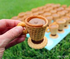 "Edible No Bake Teacup & Saucer Treat recipe made with ice cream cone, wafer, pretzel, mini peanut butter cup and chocolate pudding or gananche. Easy to assemble and a memorable dessert for a tea party, celebration or brunch. Just like in the song Willy Wonka sings ""You can even eat the dishes!"""