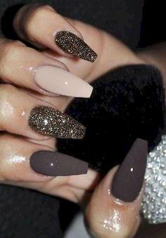 Terrific brown nail polish on coffin nails Loading. Terrific brown nail polish on coffin nails Aycrlic Nails, Shiny Nails, Cute Nails, Coffin Nails, New Year's Nails, Pretty Nails, Brown Nail Polish, Brown Nails, Nail Polish Style
