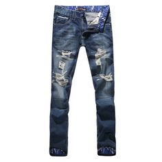 Straight Ripped For Men,Slim Fit Denims, Casual Street Style Size 28 - 36