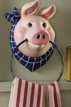 Country Farm Pig Kitchen Wall Mount Towel Holder