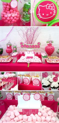 Hello Kitty Birthday Ideas Via Babble 25 unique kids Birthday Themes Lila Party, Festa Party, Cat Party, Sofia Party, Chat Hello Kitty, Hello Kitty Themes, Kids Birthday Themes, Birthday Parties, Birthday Table