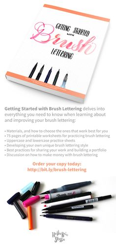 Getting Started with Brush Lettering is perfect for you if you want to start hand lettering. Order your copy today! This book will cover everything you want to learn about brush lettering for beginners: materials, printable guides and drills, uppercase and lowercase letters, developing your own unique brush lettering style, and monetizing your lettering.