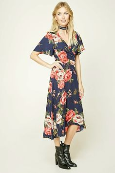 Contemporary Floral Wrap Dress