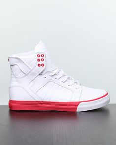 Dope Skytop White Action Leather/Red Sneakers by Supra!
