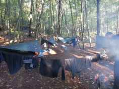 Hammock tent setup. Camping, hiking, canoeing trip on the Appalacian Trail and Delaware River