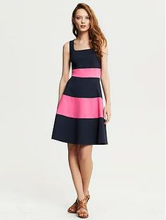 Rugby Stripe Ponte Fit-and-Flare Dress | Banana Republic
