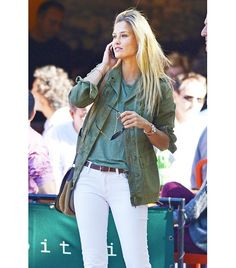 white jeans + army green