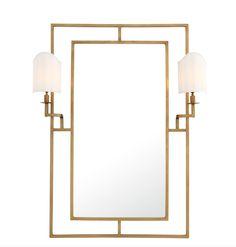 Astaire speil med 2 lamper - Messing