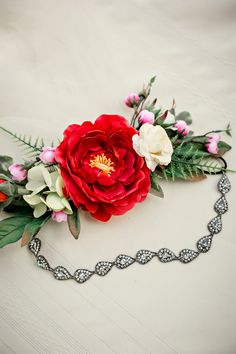 Floral Hair Piece| Vibrant & Eclectic Bohemian Inspired Backyard Wedding|Photographer: mandy evans photography