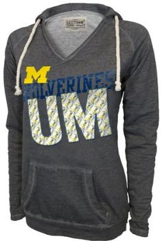 Michigan Wolverines Charcoal V-neck Pullover Hoodie