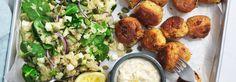 Hemkop.se | Zucchini- & halloumibollar med quinoasallad